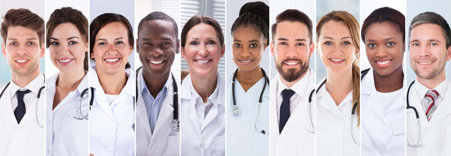 Doctors Collage. Diverse Group Of People Portraits